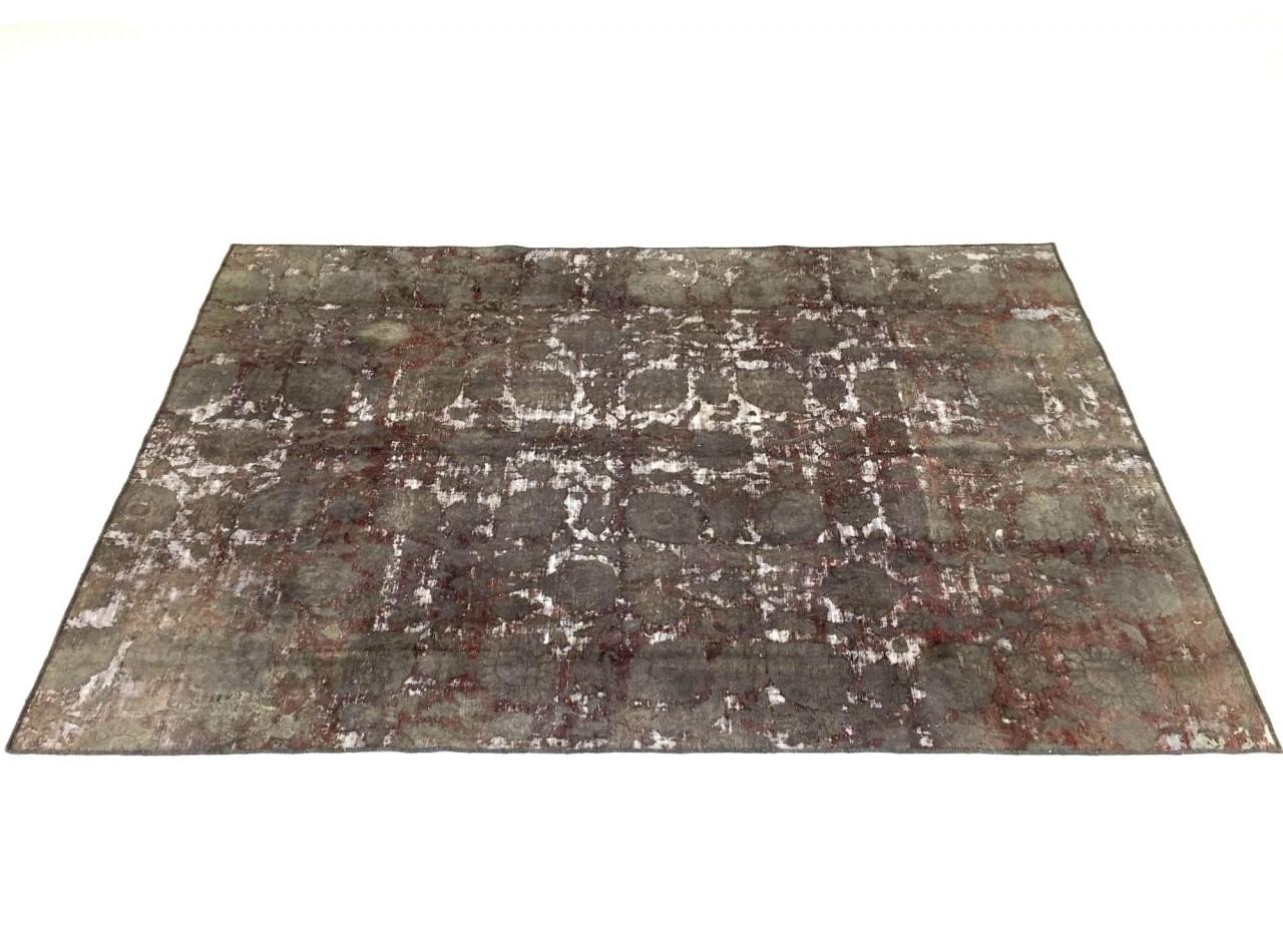SARTORI ENTIRE KARMA Vintage Teppich in olive-karmiroten Farbtönen 281 x 196 cm