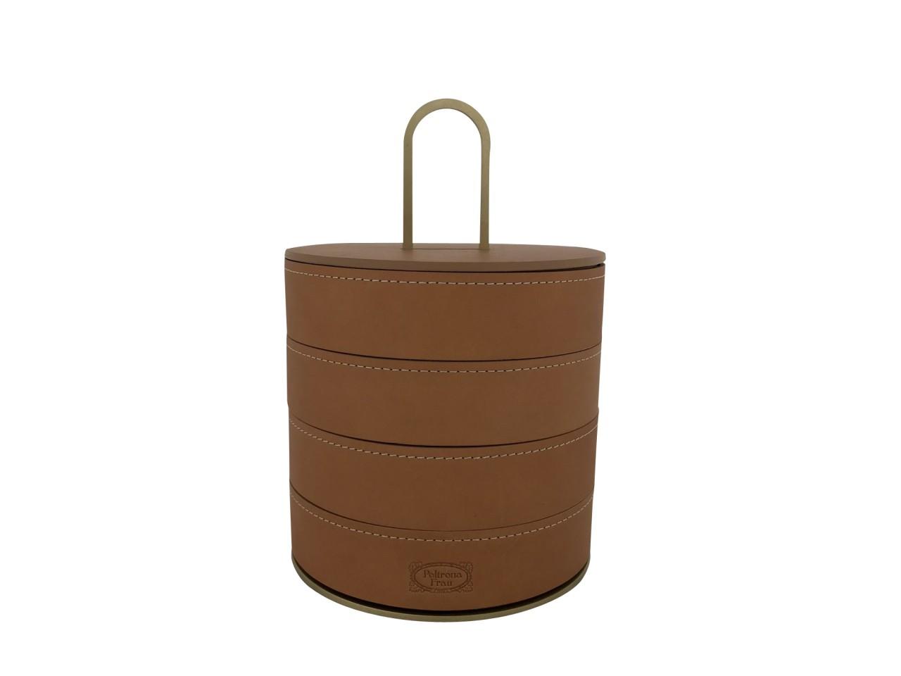 Poltrona Frau ZHUANG Aufbewahrung-Schachtel rund mit vier Fächern in Kernleder und Holz