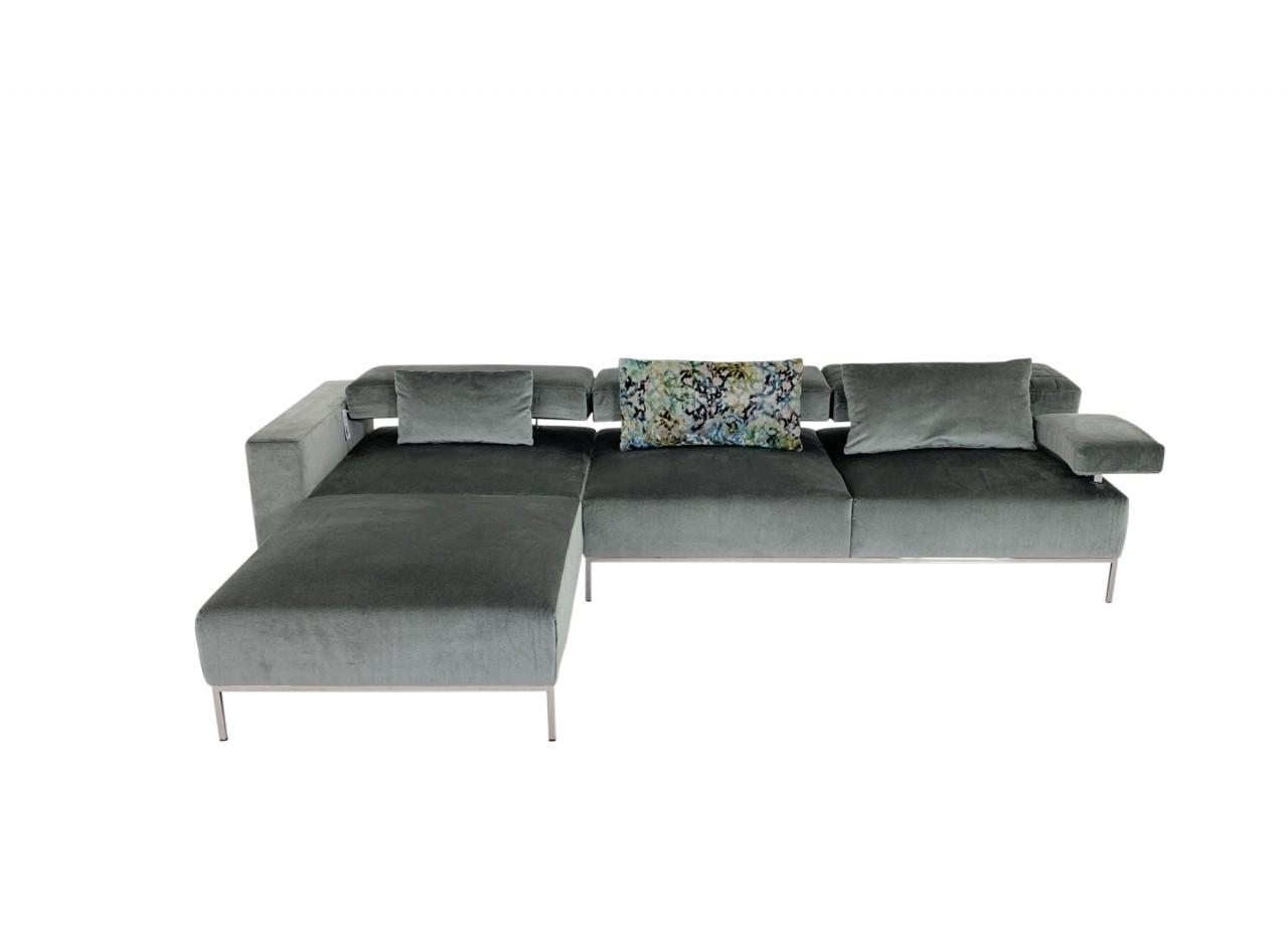 BRÜHL AIRY Sofa mit Longchair in samtigen Velour Stoff grau und komfortablen Funktionen