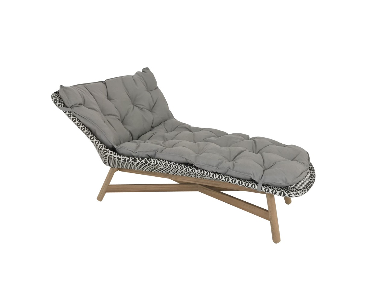 Dedon MBRACE Daybed Liege in der Farbe pepper mit Polsterauflage in cool taupe