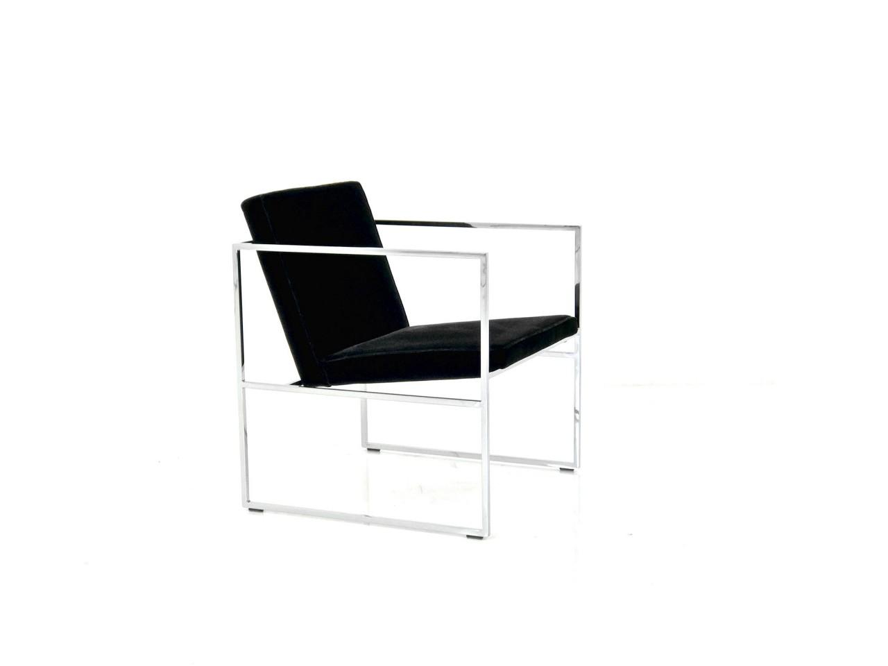 Brühl GRACE Sessel mit verchromten Rahmen und Velour Stoff schwarz
