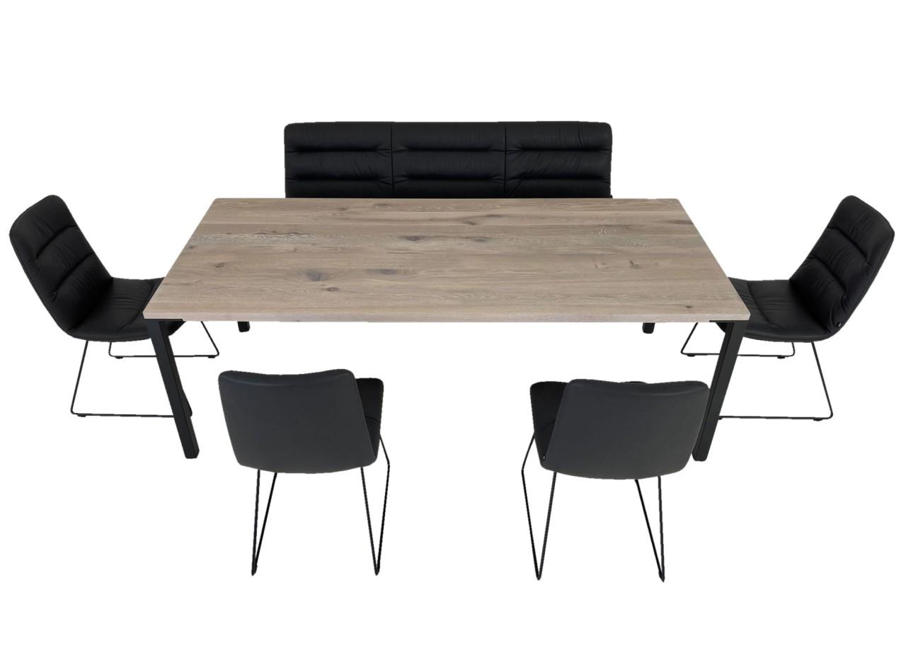 KFF ARVA LIGHT Sitzbank und Stühle in Leder Sauvage anthrazit mit ASCO FERRO LINE Esstisch in Eiche
