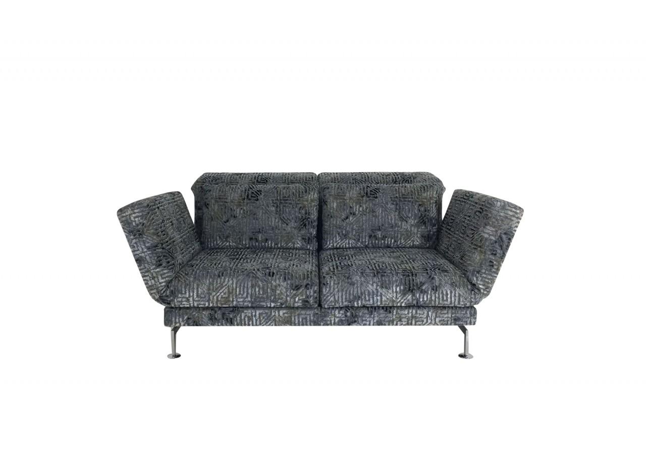 Brühl MOULE MEDIUM Sofa 2 mit Drehsitzen im edel gemusterten Velourstoff graublau