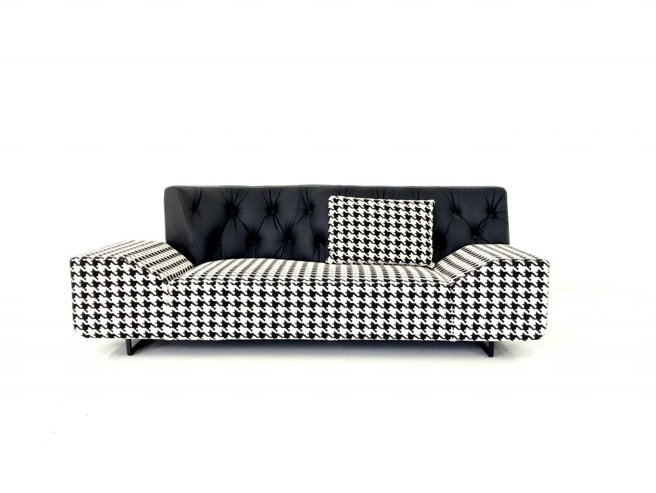 Brühl BLANCHE Sofa asymetisch in schwarz/weißer Stoff ...