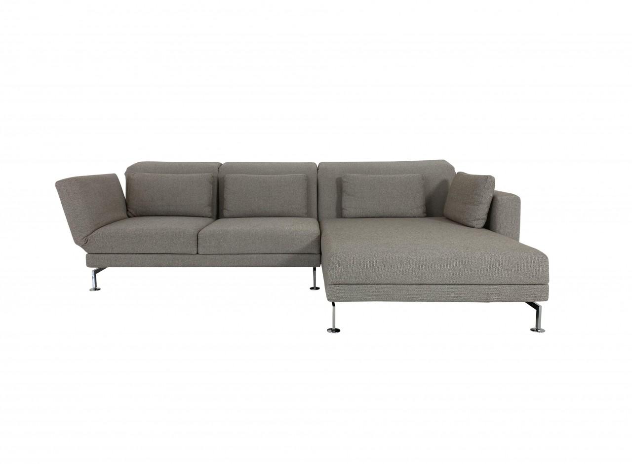 Brühl MOULE MEDIUM Sofa mit XL Recamiere rechts im Stoff beige braun melliert und Drehsitz links