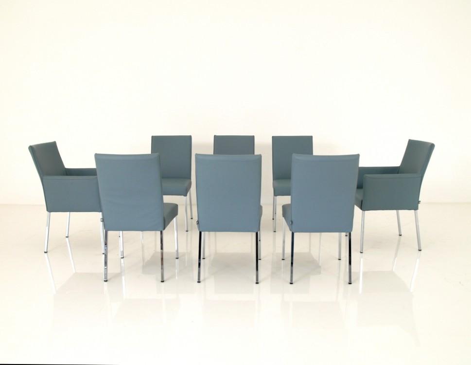 ROLF BENZ STU 652 8 Stück Stühle im Leder blaugrau mit Glanzchrom Beinen