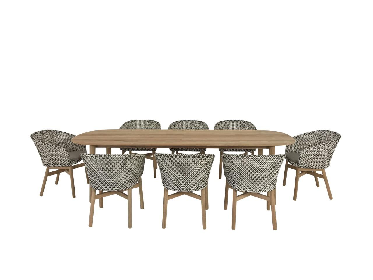 DEDON MBRACE Esstisch in Teak mit 8 Stück MBRACE ARMCHAIR Armlehnstühlen in pepper mit Sitzkissen