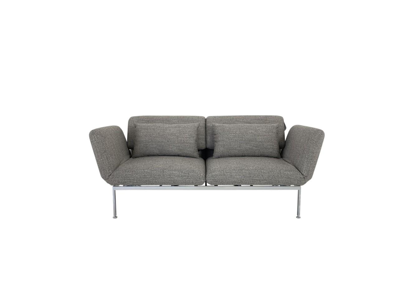 Brühl RORO medium Sofa 2 in Stoff taupe mit Drehsitzen und praktischen Rollen hinten