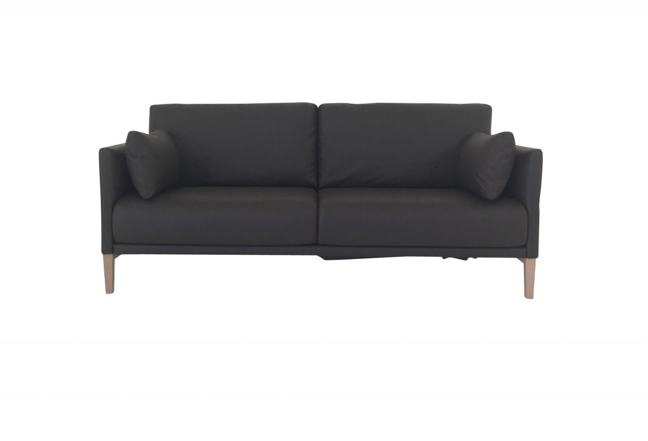 ROLF BENZ CARA Sofa mit bequemen Funktionen und Kissen in Leder graubraun