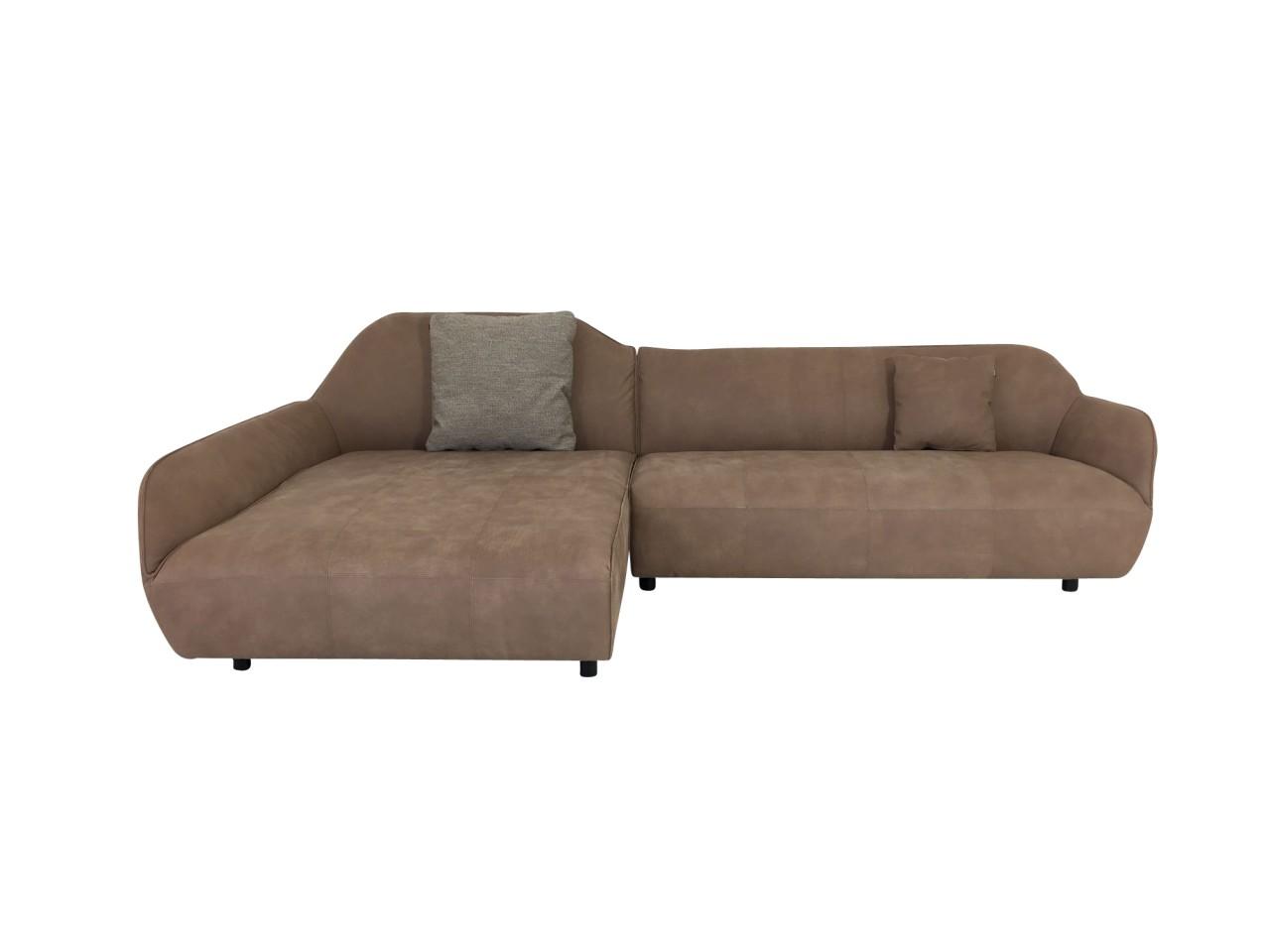 Hülsta Sofa hs.480 mit Recamiere in samtig weichen Anilin Leder Yves graubeige mit Kissen