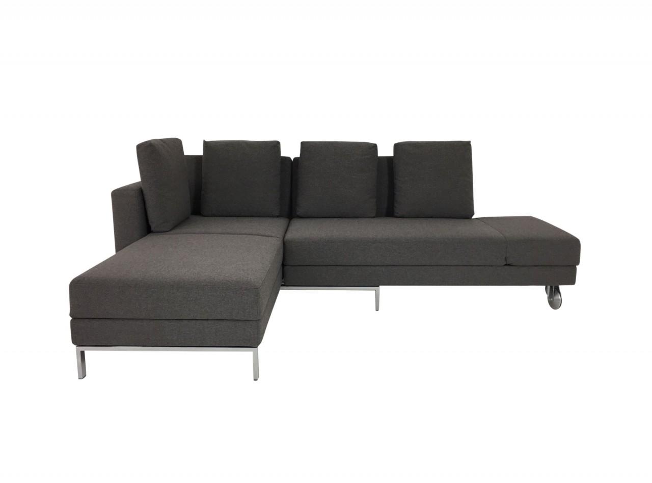 Brühl FOUR-TWO Sofa mit Recamiere und Bettfunktion in Stoff dunkelgrau