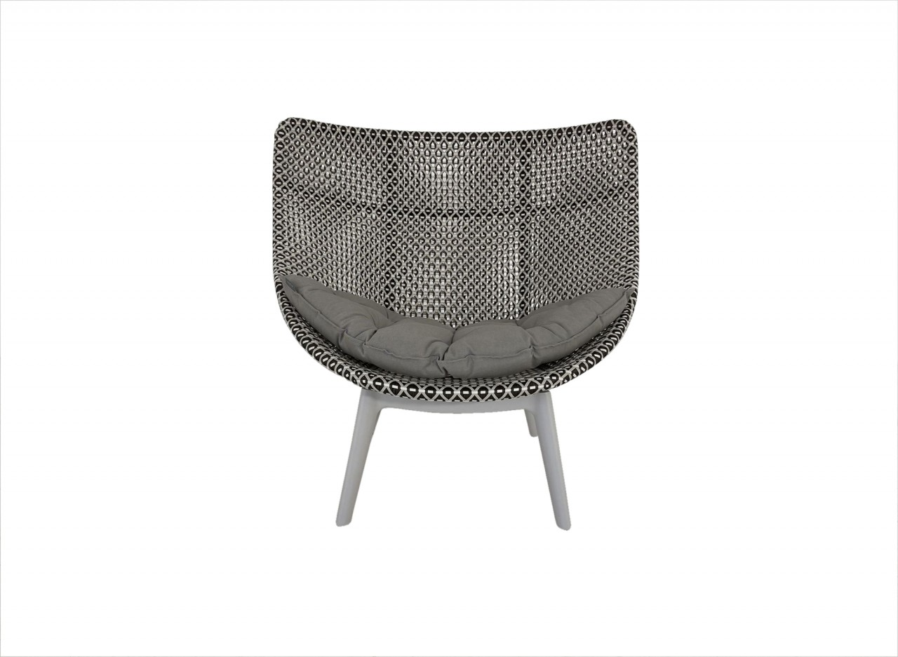 DEDON MBRACE WING CHAIR ALU Hochlehner Sessel in pepper mit Sitzkissen in cool taupe