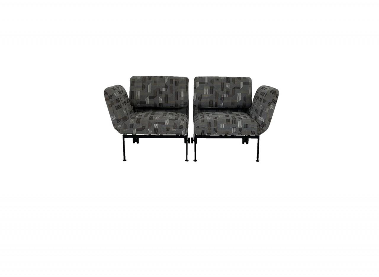 Brühl RORO small Liege Sessel Set in Stoff grau mit grafischer Musterung beigebraun Gestell schwarz