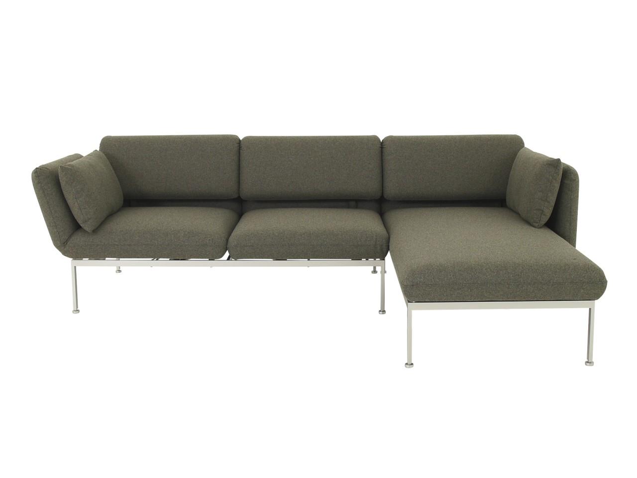 Brühl RORO MEDIUM Sofa mit Recamiere im hochwertigen graubraunen Wollfilzstoff 4476