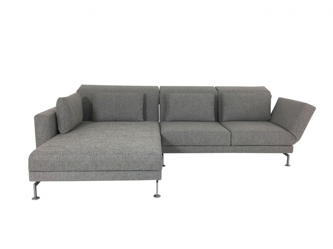 Brühl MOULE MEDIUM Sofa mit XL Recamiere links im robusten hellgrauen Stoff 2480 und Drehsitz