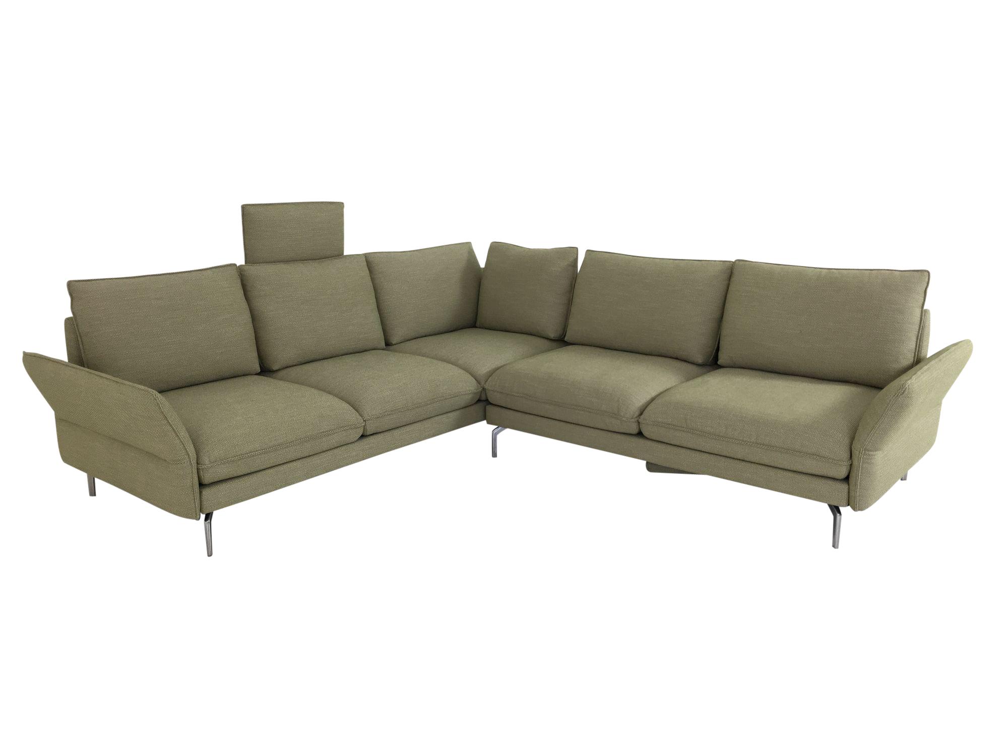 Hülsta Sofa hs 454 Ecksofa mit Seitenteil und Fußstützen Funktionen in Stoff Vivienne farngrün