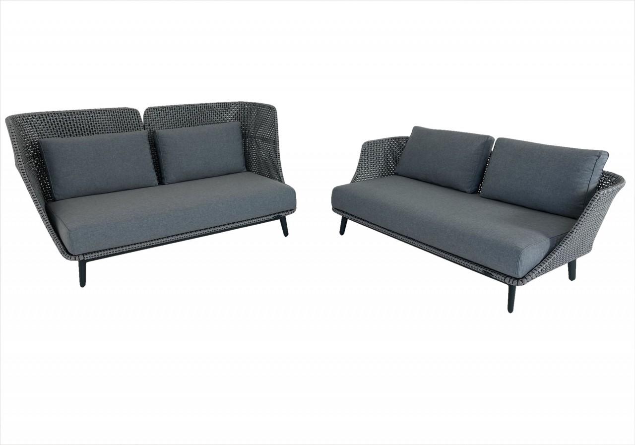 Zwei DEDON MBARQ HIGH BACKREST und LOW BACKREST Sofas in baltic und Kissenset in dark turquois