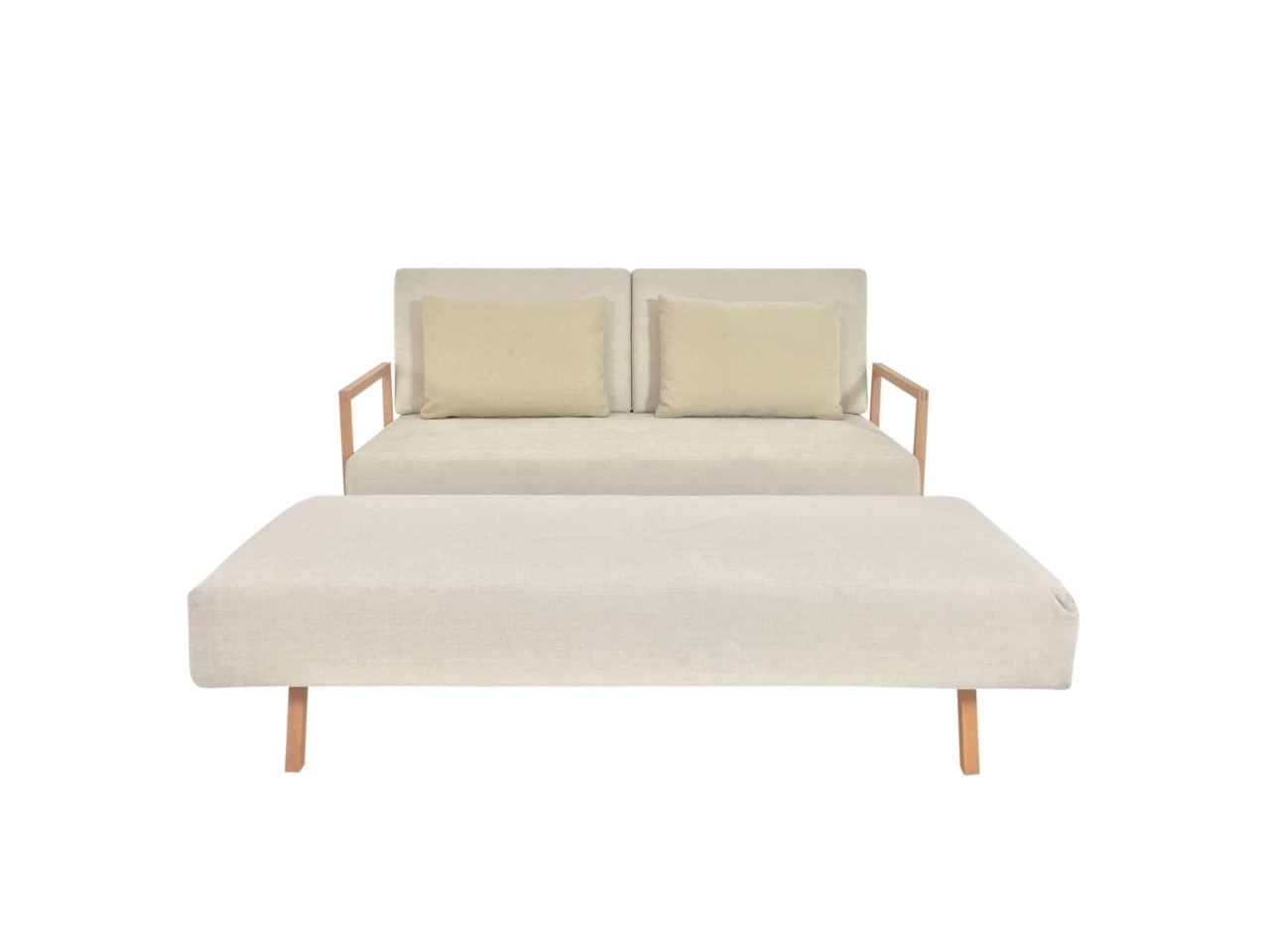 br hl concert sofa mit hockerbank in stoff offwhite mit. Black Bedroom Furniture Sets. Home Design Ideas