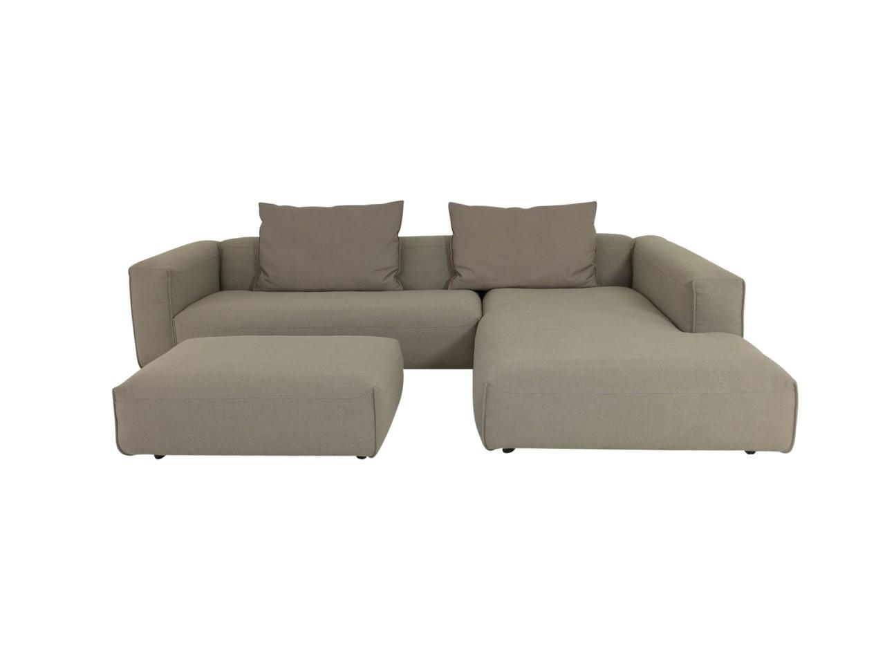 Rolf Benz MIO Sofa mit Recamiere Übertief in Stoff graubeige mit Polsterbank und Kissen in Leder