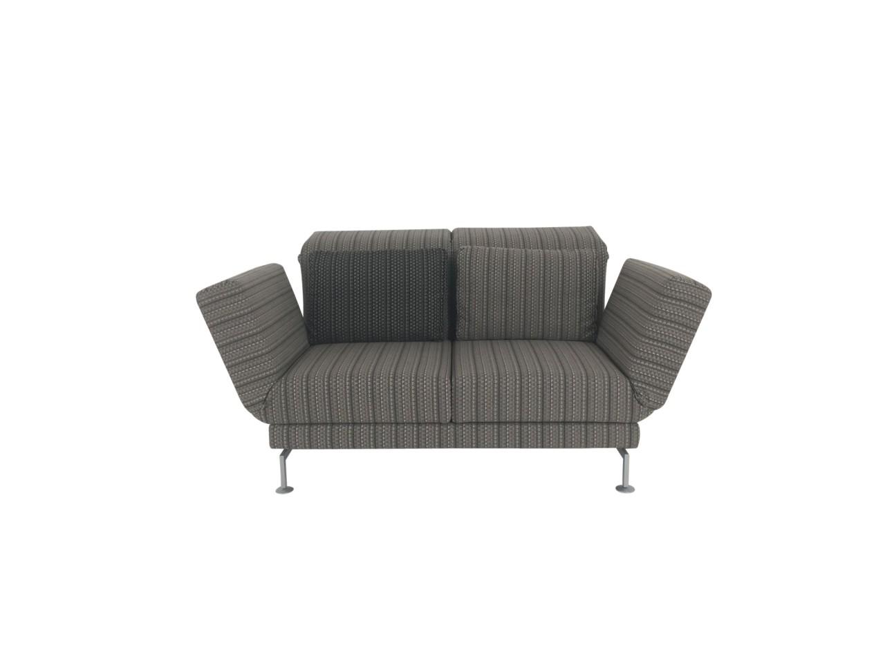 Brühl MOULE SMALL Sofa 2 mit zwei Drehsitzen im braun gestreiften Stoffbezug und Rollen hinten
