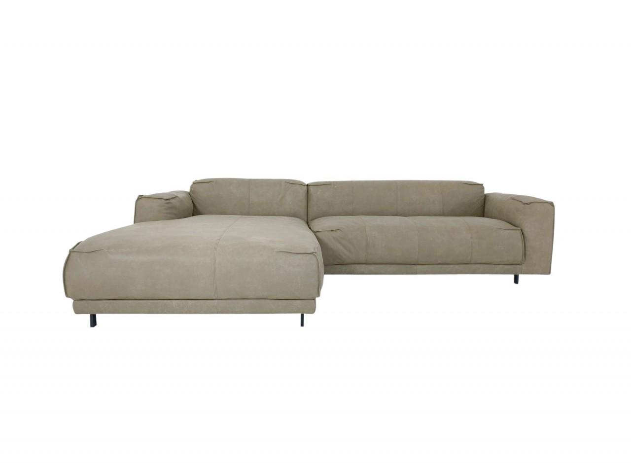 freistil 136 ROLF BENZ Sofa mit Recamiere links in Nappa Leder 9221 gelbgrau