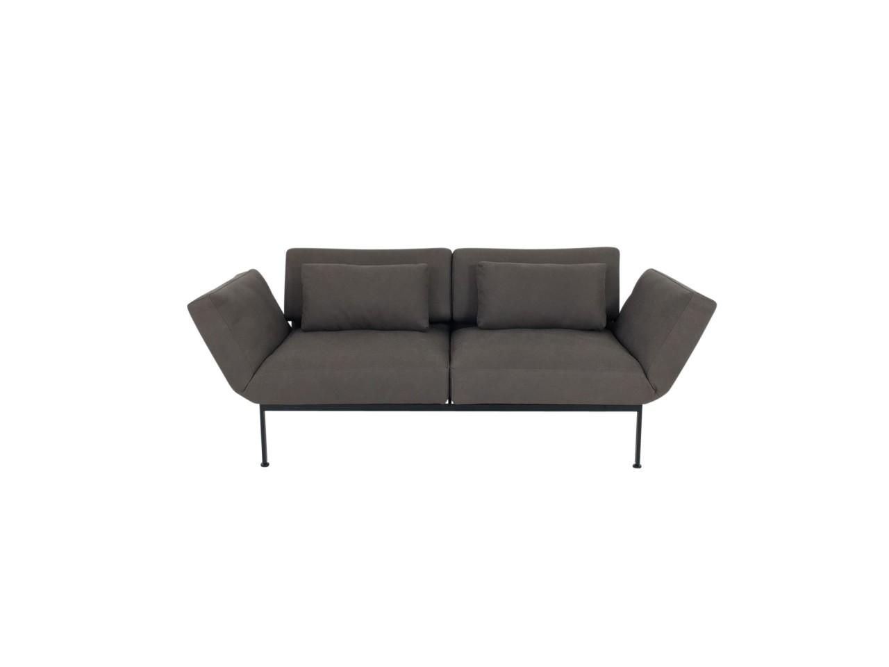 Brühl RORO/20 soft Sofa 2 mit weichen Sitzen in Leder Taron graubraun Gestell schwarz mit Rollen