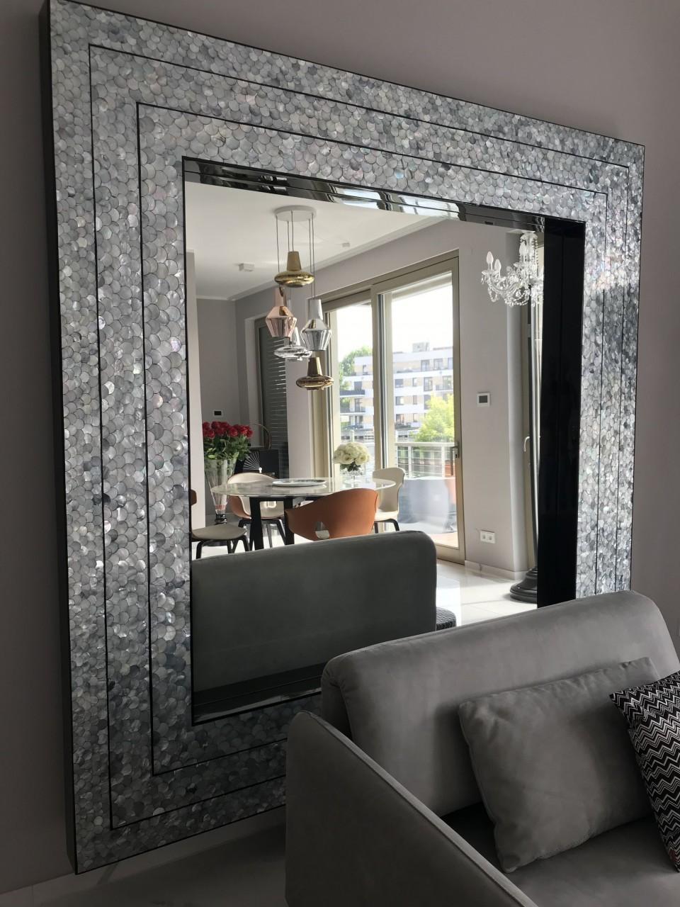 xxl standspiegel 200 cm x 200 cm mit handgearbeiteten breiten perlmutt rahmen designer. Black Bedroom Furniture Sets. Home Design Ideas