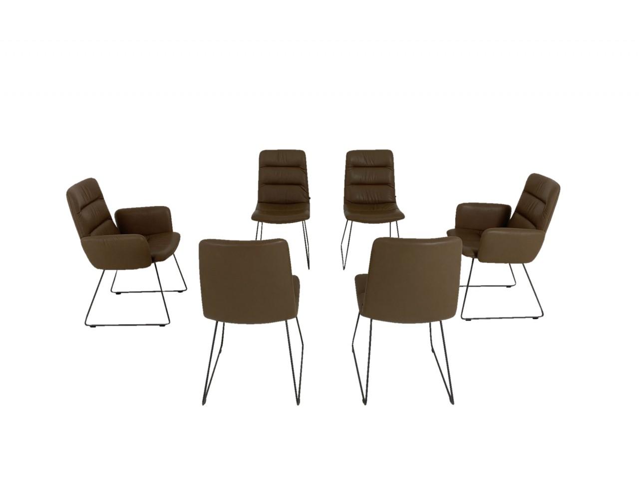 KFF ARVA LIGHT 6 Stühle in Nappa Leder Sauvage fango und Kufen-Gestell in moodgrey