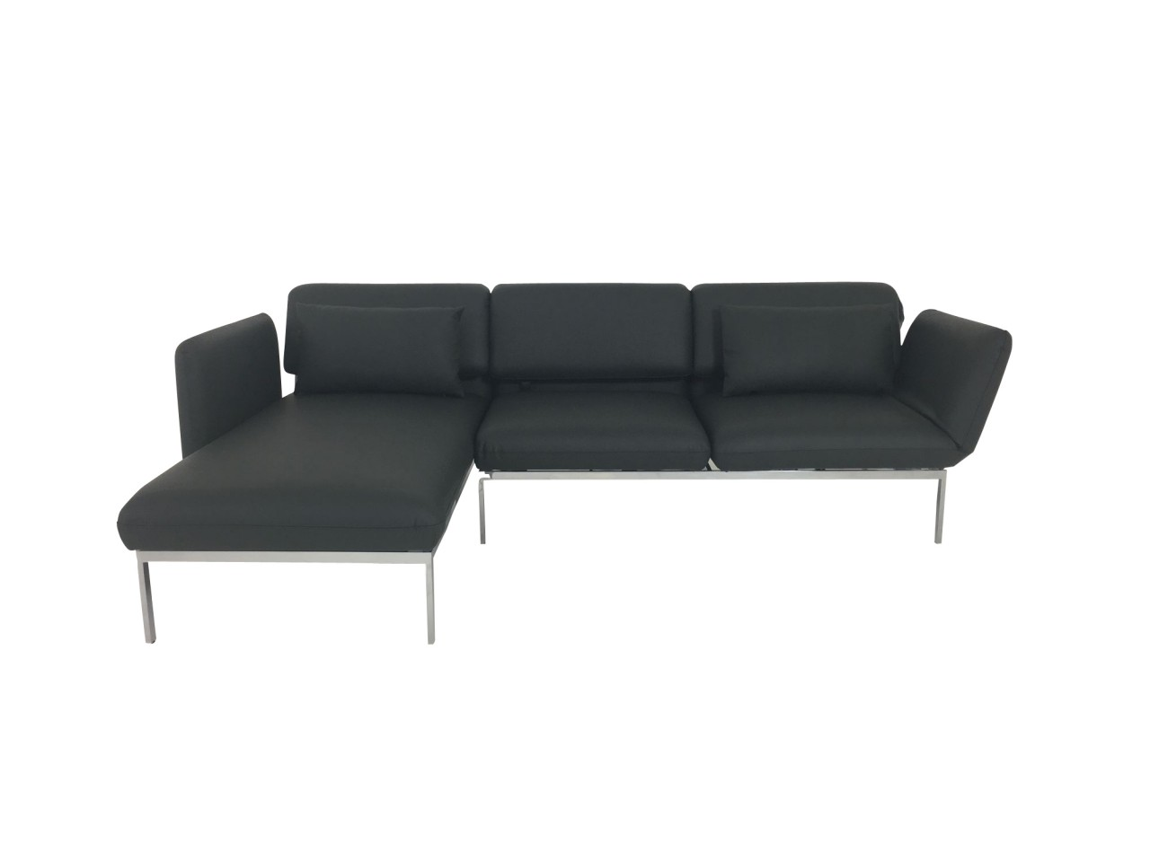 Brühl RORO medium Sofa mit Recamiere links in Leder dunkelgrau mit Drehsitz