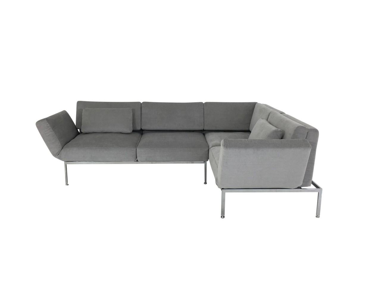 Brühl RORO/20 soft Ecksofa rechts mit weichen Sitzkomfort und zwei Drehsitzen in Stoff platingrau