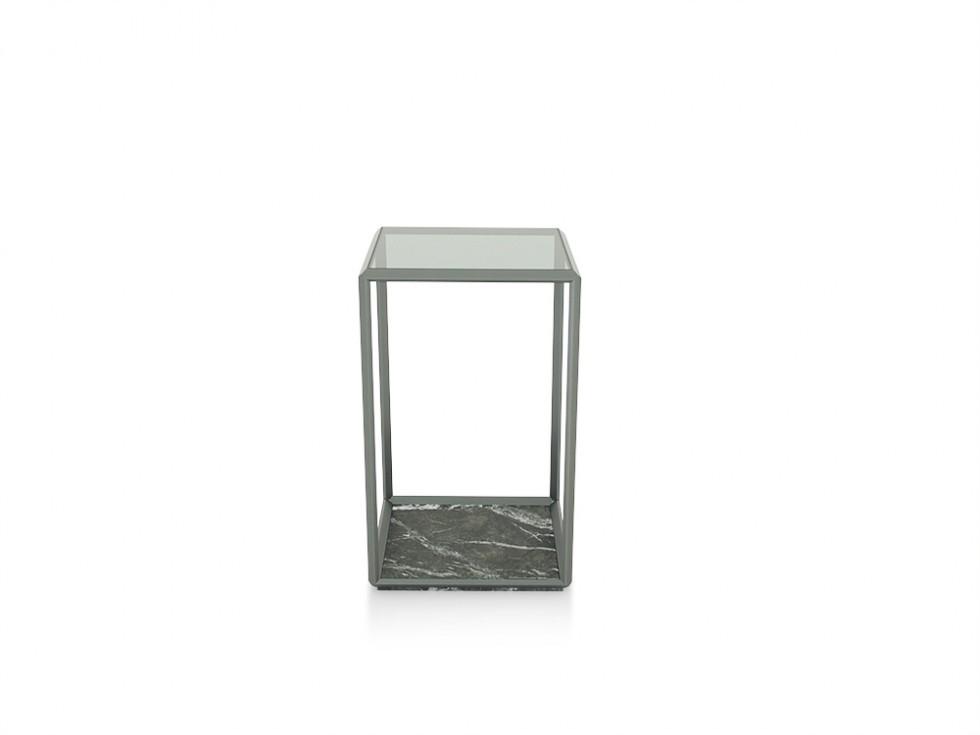 Molteni & C. 45 Grad Beistelltisch mit Glasplatte grau getönt und Sockel Marmor Marquina schwarz