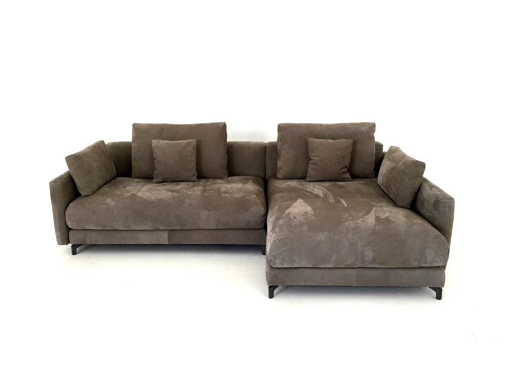 rolf benz nuvola lounge deluxe ecksofa in graubeigen nubuk. Black Bedroom Furniture Sets. Home Design Ideas
