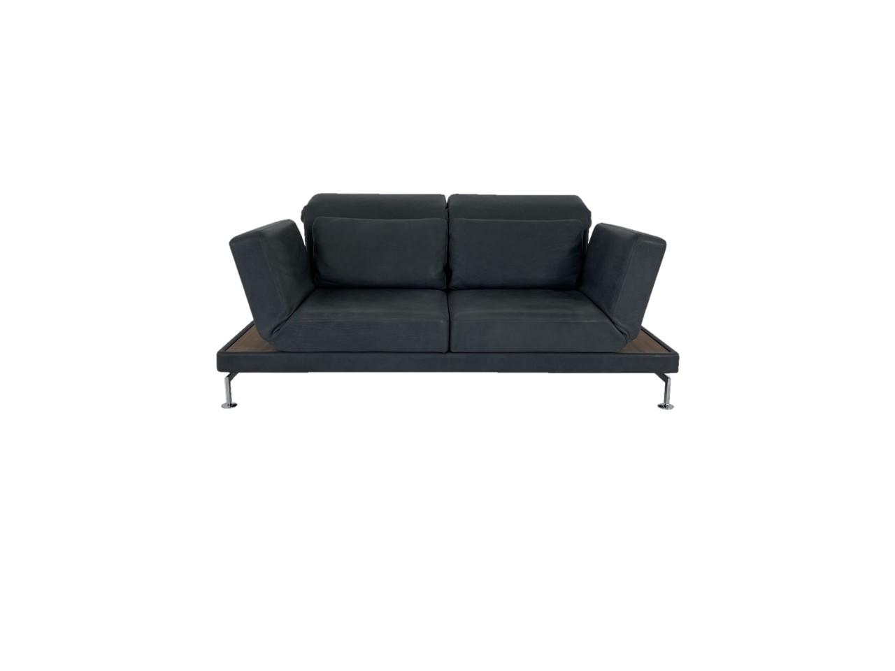Brühl MOULE Medium Sofa in OLIVA Naturleder anthrazit mit Ablagen in Nussbaum