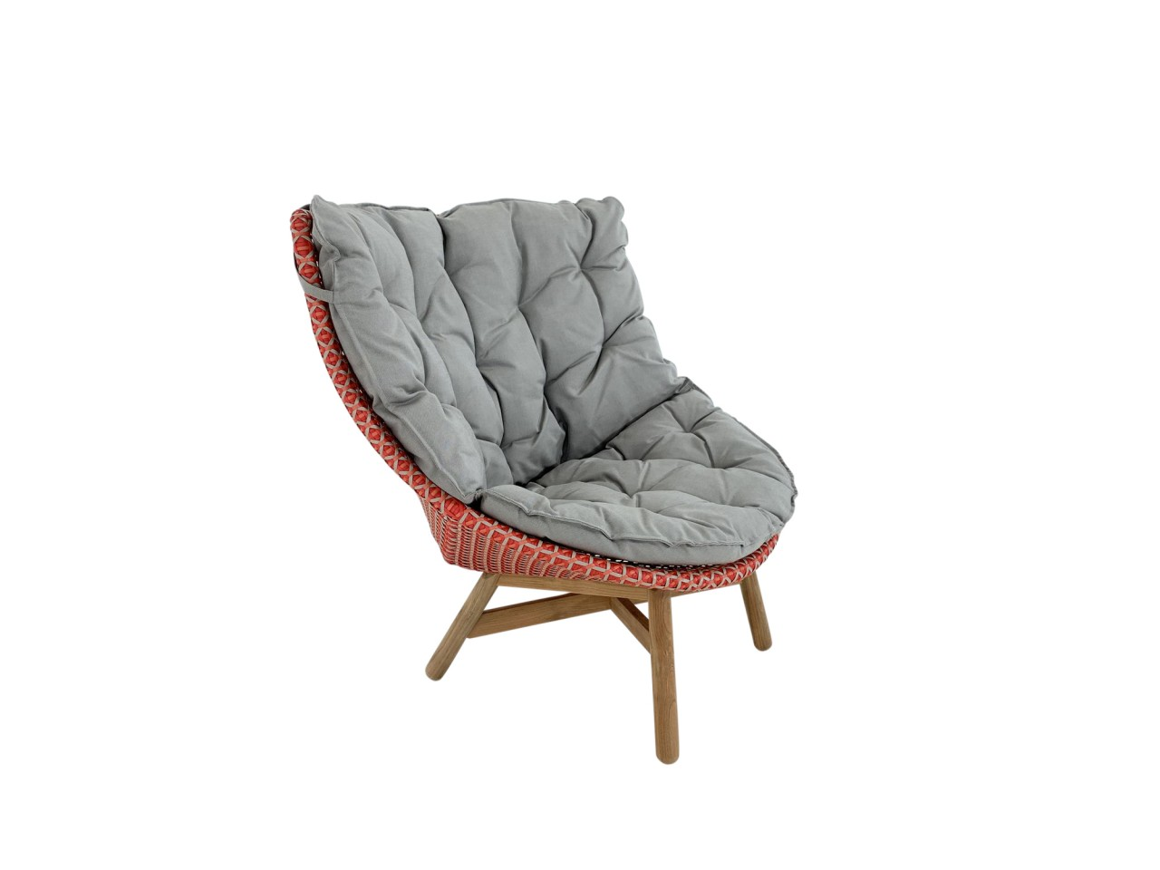 DEDON MBRACE WING CHAIR Hochlehner Sessel in spice mit Polsterauflage in cool taupe