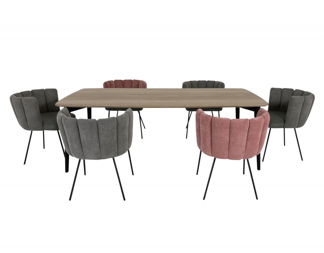 ROLF BENZ Esstisch 900 Eiche massiv mit 6 Stück KFF GAIA Stühlen in stylischem Kordstoff- Leder Mix