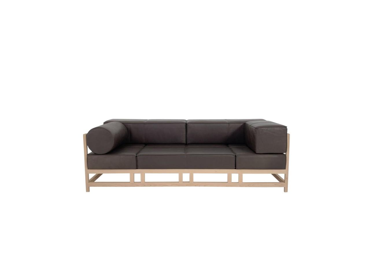 Brühl EASY PIECES WOOD Sofa in OLIVA Leder dunkelbraun mit Gestell in Buche hell geweißt