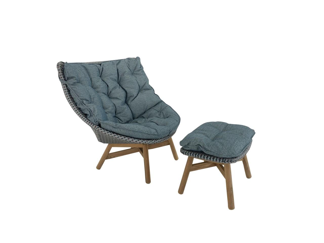 DEDON MBRACE WING CHAIR Hochlehner Sessel mit Hocker in baltic mit Polster und Kissen für Hocker