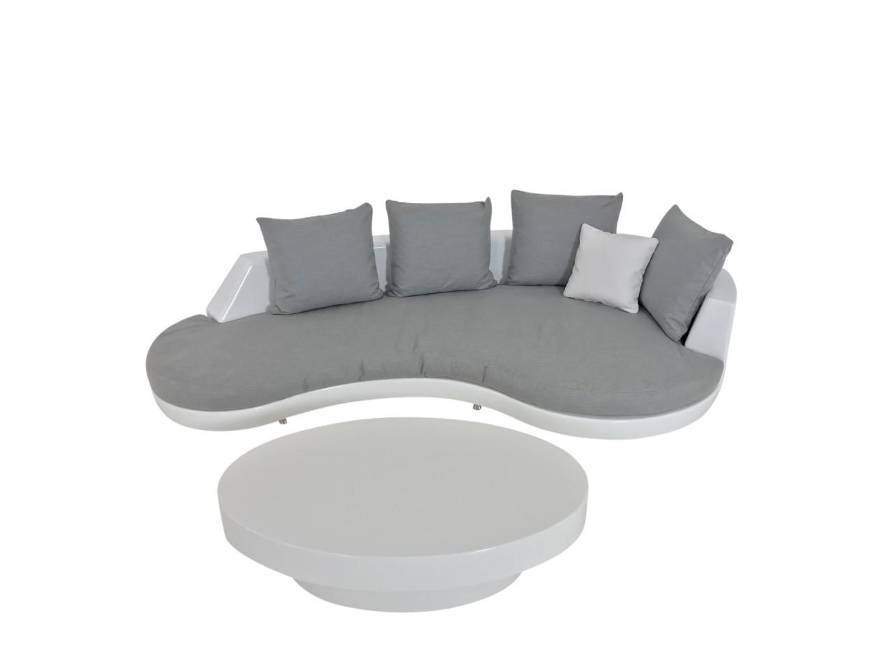 Rausch DIVA Garten Sofa in weiß mit grauen Kissenset inkl. Couchtisch