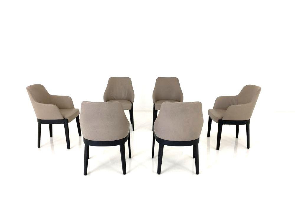 Molteni & C. CHELSEA Stühle 6 Stück im Leder Rosato taupe und Gestell graues Eichenholz