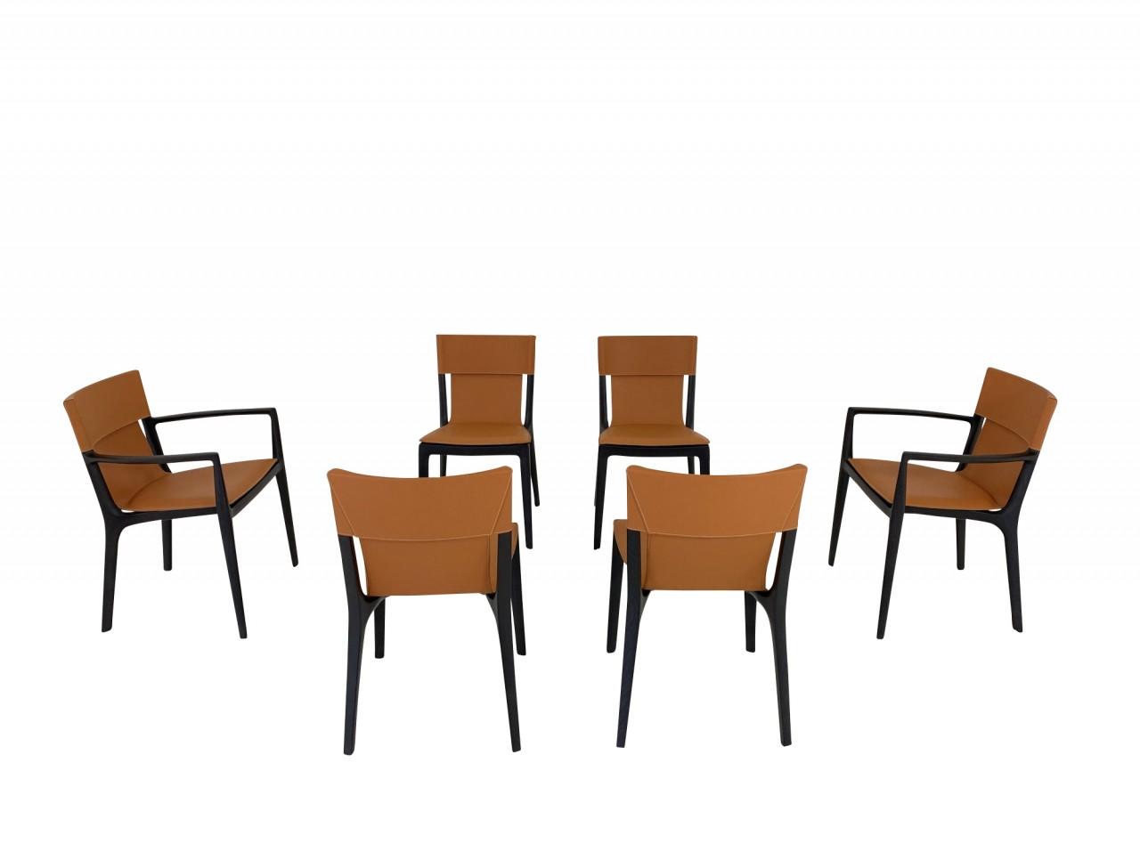 Poltrona Frau ISADORA Set aus 6 Stühlen im saddle extra Leder cammello