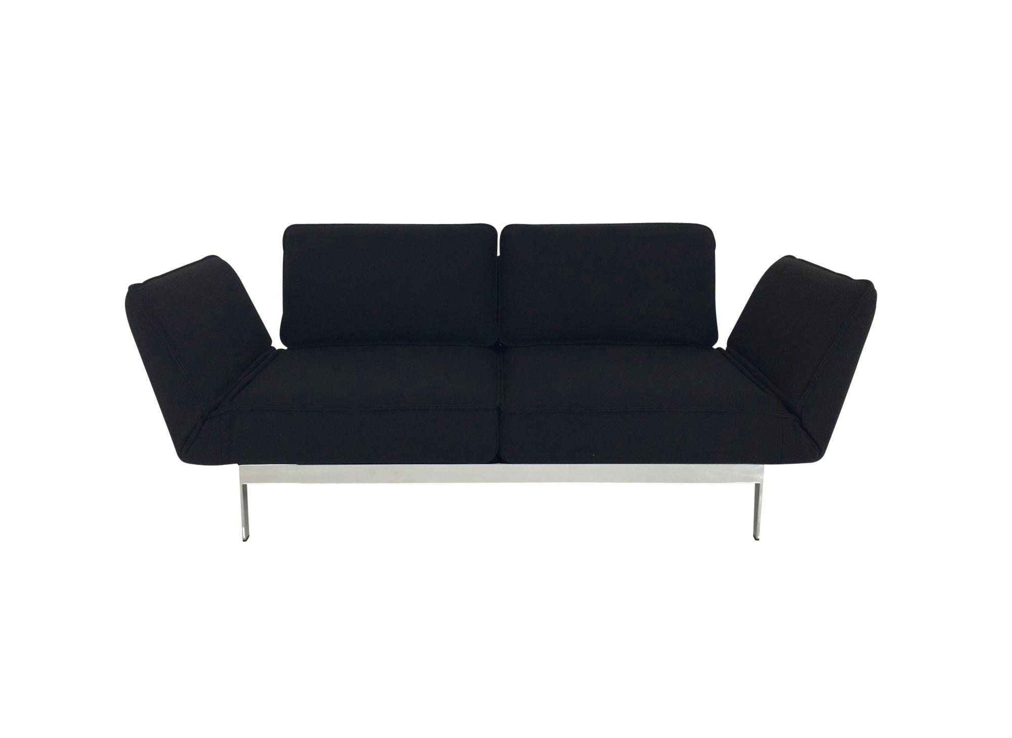 rolf benz mera sofa in schwarzen stoff und drehsitzen mit edlen chrom f en rolf benz mera. Black Bedroom Furniture Sets. Home Design Ideas