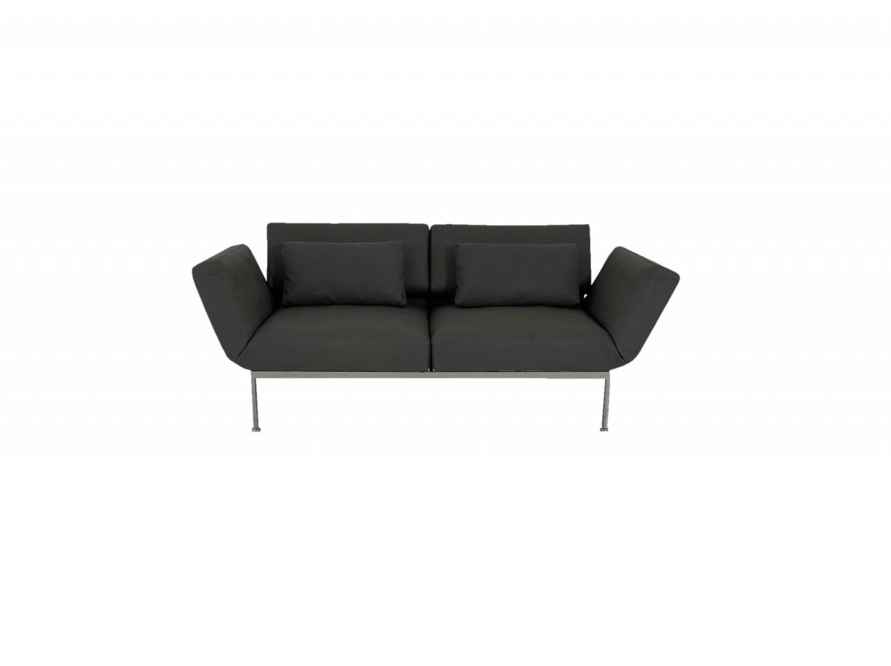 Brühl RORO/20 soft Sofa 2 mit weichen Sitzen in Leder Taron grau Gestell verchromt mit Rollen