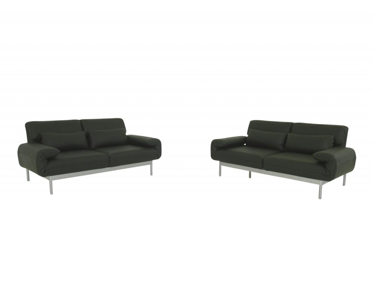 ROLF BENZ PLURA Sofa in schwarzen Leder, Relaxrücken und silbernen Füßen im SONDERANGEBOT