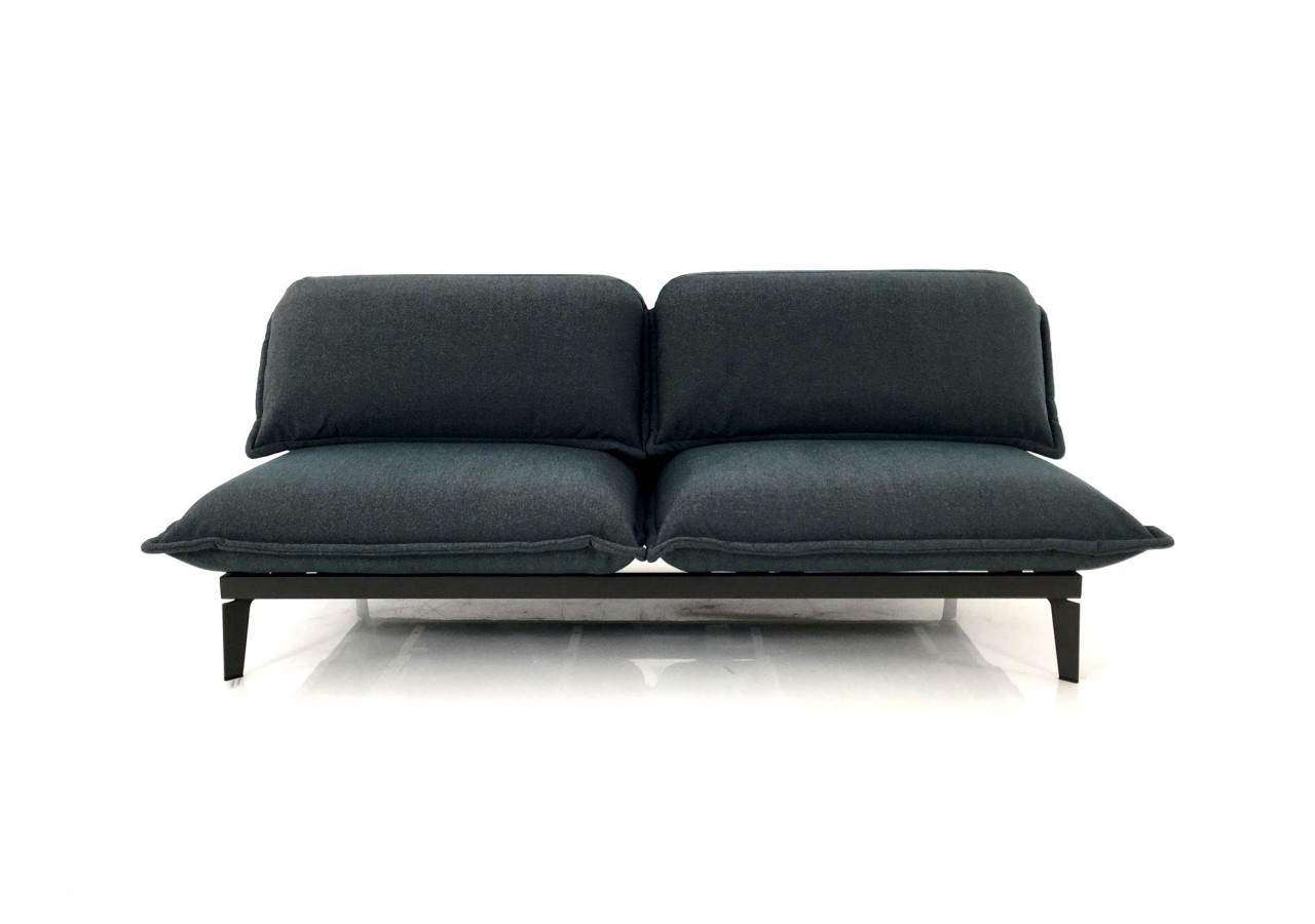 Rolf Benz NOVA Sofa in Stoff schiefergrau mit Diagonalfuß umbragrau