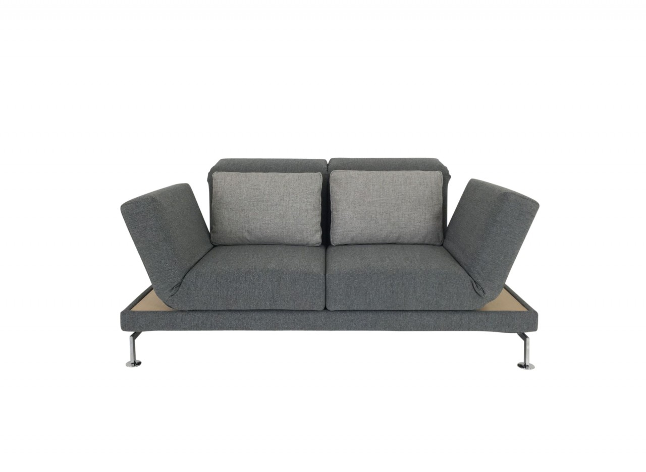 Brühl MOULE SMALL Sofa 2 mit Drehsitzen in Stoff grau mit beidseitigen Ablagen in Eiche