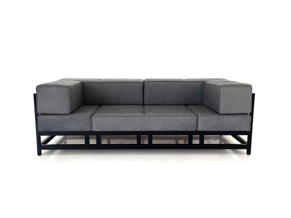 Brühl EASY PIECES WOOD Sofa in edlen grauen Pearl Leder mit schwarzen Gestell