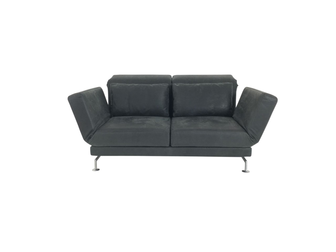 Brühl MOULE medium Sofa im dunkelgrauen Glove Leder mit 2 Drehsitzen und Chromkufen