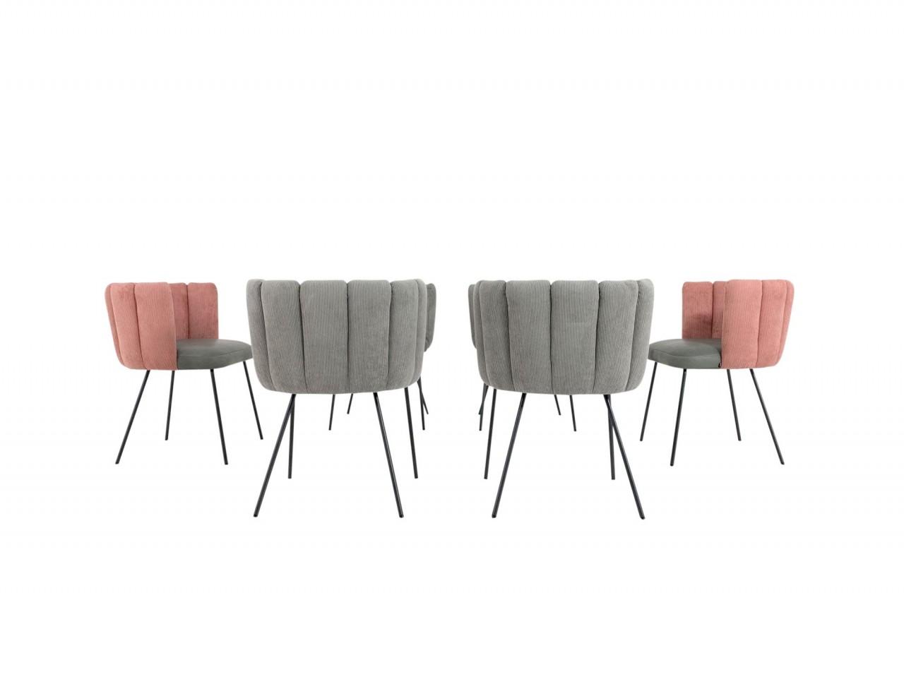KFF GAIA Stühle in stylischem Kordstoff- Leder Mix grau und rosé im 6er Set mit mit Vier-Fuß Gestell
