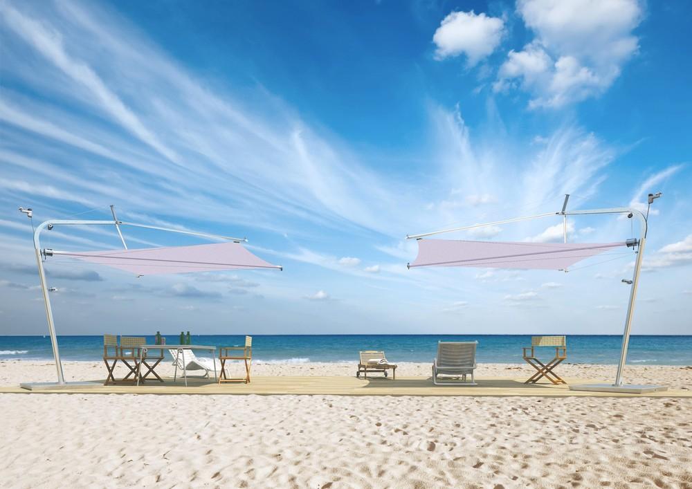 Corradi LIBECCIO Modell 6 Sonnenschirm mit weißen 16 m² großen Decron Sonnensegel ab Lager lieferbar