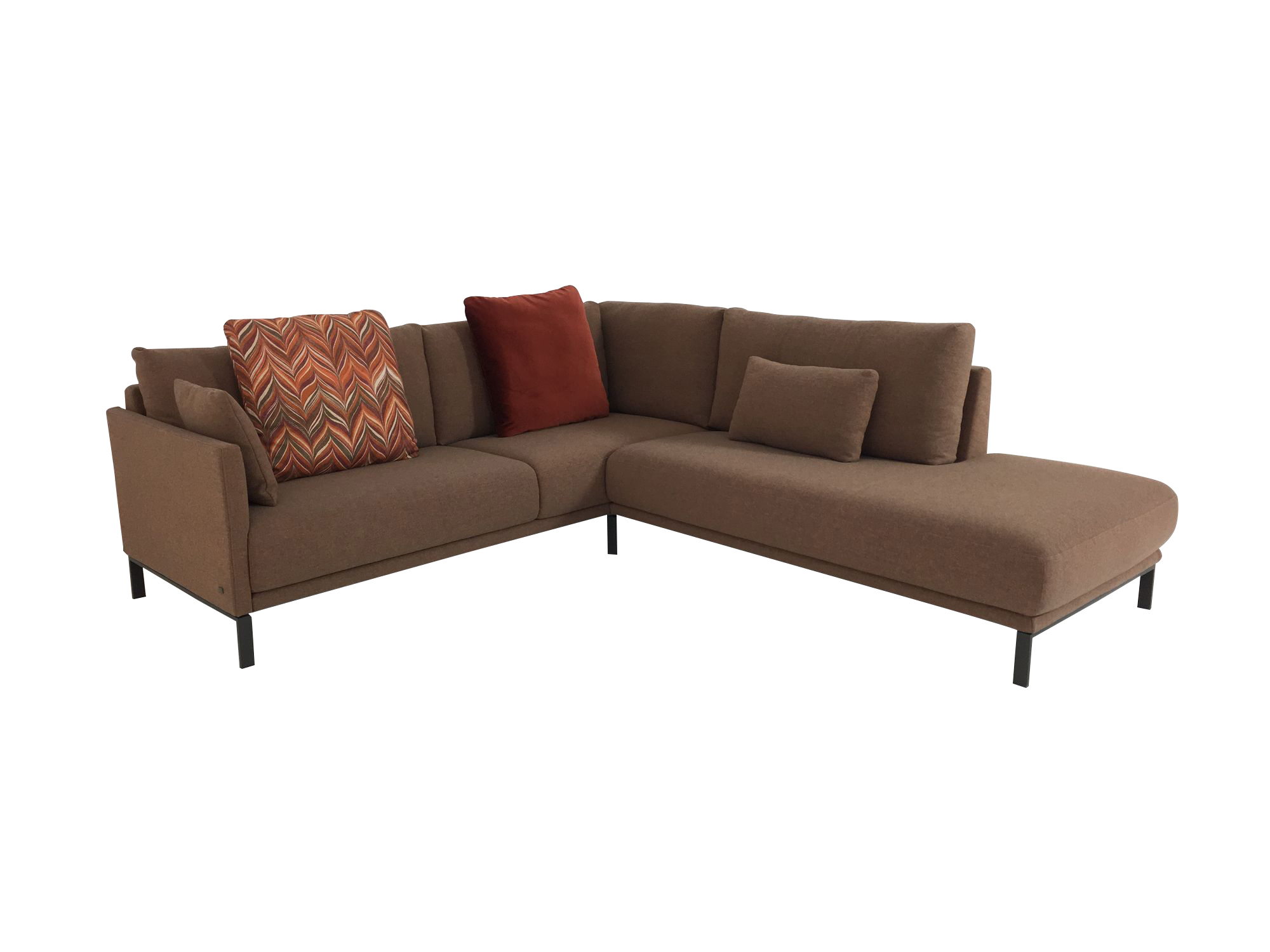 rolf benz cara ecksofa in stoff beige orange mit kompletter ausstattung an funktionen und kissen. Black Bedroom Furniture Sets. Home Design Ideas